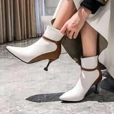 Frauen Kunstleder Stöckel Absatz Stiefelette mit Reißverschluss Schuhe