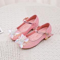 Girl's Ronde neus Closed Toe imitatieleer low Heel Flats Sneakers & Sportschoenen Bloemenmeisje schoenen met Gesp Sprankelende Glitter Bloem