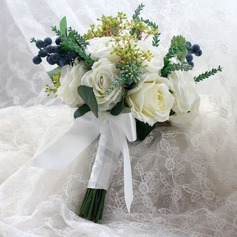 Lovely Mão-amarrado Pano/Fita Buquês de noiva