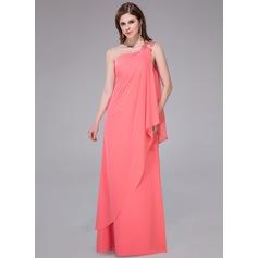 Tubo Um ombro Longos Tecido de seda Vestido de Férias com Beading lantejoulas Babados em cascata