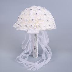 Simple And Elegant Round Foam Bridal Bouquets -