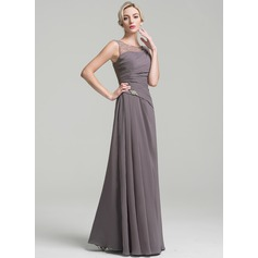 A-Line/Princess Scoop Neck Floor-Length Chiffon Mother of the Bride Dress With Ruffle Beading (008091963)