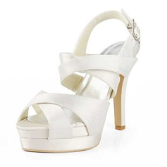 Women's Satin Cone Heel Platform Sandals Slingbacks With Buckle