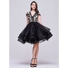 Vestidos princesa/ Formato A Decote V Coquetel Organza de Vestido de boas vindas com Bordado Apliques de Renda Lantejoulas