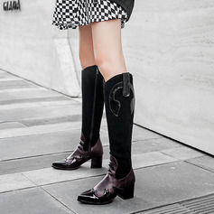 Women's Leatherette Chunky Heel Knee High Boots With Zipper shoes