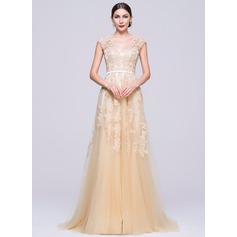 Vestidos princesa/ Formato A Decote V Sweep/Brush trem Tule Vestido de festa com Apliques de Renda