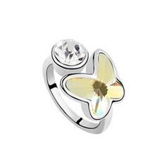 Em forma de borboleta Liga com Imitação de cristal Senhoras Anéis Moda