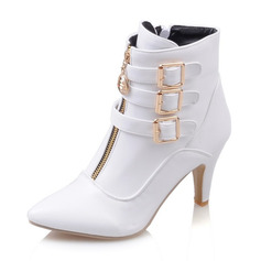 Women's Leatherette Wedge Heel Boots Closed Toe With Buckle Zipper (047190348)
