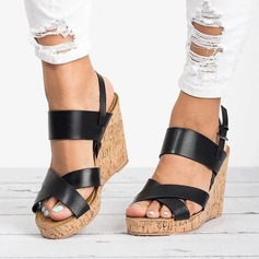 Kvinnor Konstläder Kilklack Sandaler Pumps Kilar med Spänne skor