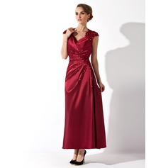 A-Line V-neck Ankle-Length Charmeuse Mother of the Bride Dress With Ruffle Lace Beading