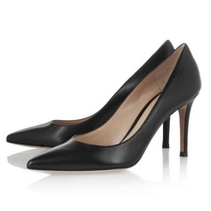 Real Leather Cone Heel Pumps Closed Toe shoes
