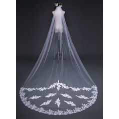 One-tier Lace Applique Edge Chapel Bridal Veils With Applique (006141256)