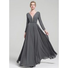 A-Line/Princess V-neck Floor-Length Chiffon Evening Dress With Beading Sequins (017093466)