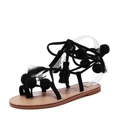 Kvinnor Mocka Flat Heel Sandaler Platta Skor / Fritidsskor Peep Toe Slingbacks med Ribbon Tie Bandage skor