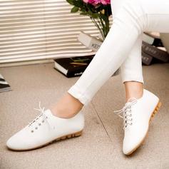 De mujer PU Tacón plano Planos Cerrados con Cordones zapatos