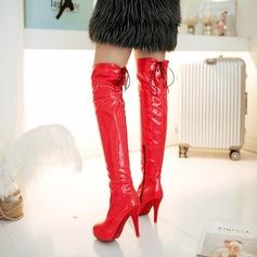 Mulheres Couro Brilhante Salto agulha Plataforma Bota em cima do joelho sapatos