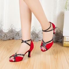 Женщины Замша На каблуках Сандалии Латино с Ремешок на щиколотке Обувь для танцев