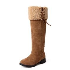 Wildleder Niederiger Absatz Kniehocher Stiefel Schneestiefel Schuhe