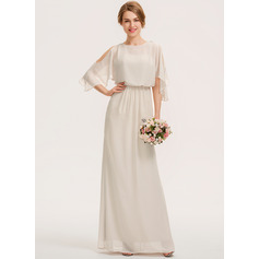 Sheath/Column Scoop Neck Floor-Length Chiffon Bridesmaid Dress With Cascading Ruffles