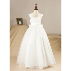 Ball Gown Floor-length Flower Girl Dress - Satin/Tulle Sleeveless Square Neckline With Bow(s) (010094466)