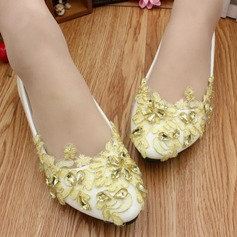 Women's Lace Leatherette Flat Heel Closed Toe With Rhinestone Applique