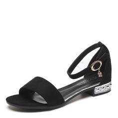 Женщины Замша Низкий каблук Сандалии Открытый мыс с горный хрусталь пряжка Каблуки с украшением обувь