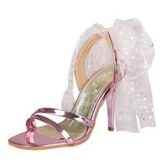 Mulheres PU Salto agulha Sandálias Bombas com Laço de fita sapatos