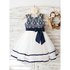 Forme Princesse Longueur genou Robes à Fleurs pour Filles - Tulle/Dentelle Sans manches Col rond