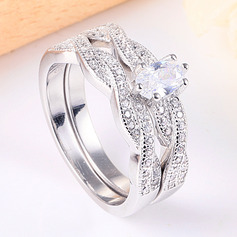 925 Sterling Sølv med ovale Terningformet Zirkon Ringe/Løfte Ringe/Stabelbare Ringe