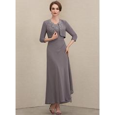 Linia A Kwadratowy Dekolt Do Kostek Szyfon Suknie dla Matki Panny Młodej Z Koronka cekiny Ruffles kaskadowe