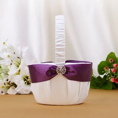 Pretty Flower Basket With Rhinestones/Sash