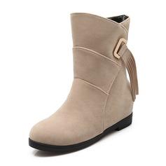 Frauen Veloursleder Flascher Absatz Geschlossene Zehe Stiefel Stiefelette Stiefel-Wadenlang mit Quaste Schuhe