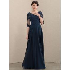 Corte A Decote V Longos Tecido de seda Renda Vestido para a mãe da noiva com Beading