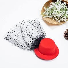 женские прекрасный чистая пряжа/шелковые цветы Вуалью