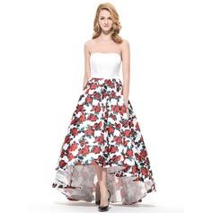 Vestidos princesa/ Formato A Amada Assimétrico Cetim Vestido de baile