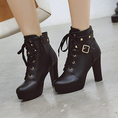 Women's PU Stiletto Heel Boots Ankle Boots With Buckle Zipper Lace-up shoes