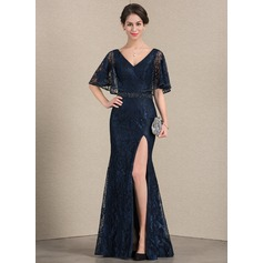 Trumpet/Mermaid V-neck Floor-Length Lace Mother of the Bride Dress With Beading Sequins Split Front