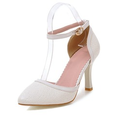 Frauen Kunstleder Stöckel Absatz Absatzschuhe Geschlossene Zehe mit Schnalle Schuhe