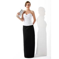 Платье-чехол В виде сердца Длина до пола Атлас Вечерние Платье с Рябь Бисер