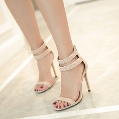 Women's Suede Stiletto Heel Sandals Peep Toe With Buckle shoes