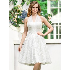 A-Line/Princess Halter Asymmetrical Chiffon Lace Wedding Dress With Bow(s)