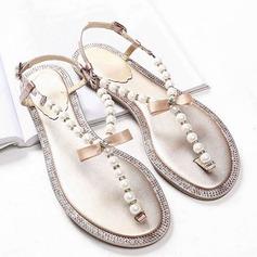 Kvinner Egte Lær Flat Hæl Flip-Flopper Titte Tå Sandaler Beach Wedding Shoes med Bowknot Imitert Perle Rhinestone