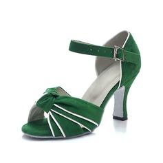 Mulheres Camurça Saltos Sandálias Latino com Fivela Sapatos de dança