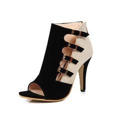 Frauen Kunstleder Stöckel Absatz Sandalen Absatzschuhe Peep Toe mit Schnalle Schuhe (087095301)