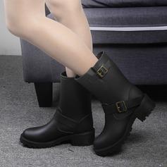 Kvinner PVC Lav Hæl Støvler Mid Leggen Støvler Gummistøvler med Spenne sko