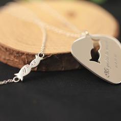 Personlig Par ' Evig Kjærlighet 925 Sterling Sølv med Heart Graverte Halskjeder Halskjeder Brudepike/Blomsterpike