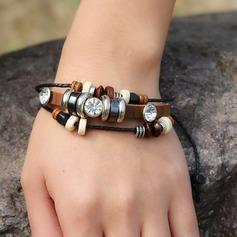 Jahrgang Legierung Strasssteine Lederseil mit Strass Frauen Mode Armbänder (Sold in a single piece)