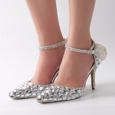 Women's Real Leather Stiletto Heel Pumps With Buckle Rhinestone