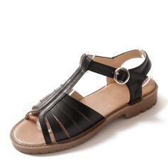Frauen Kunstleder Flascher Absatz Sandalen Flache Schuhe mit Schnalle Schuhe