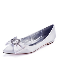 Women's Leatherette Flat Heel Closed Toe Flats With Bowknot